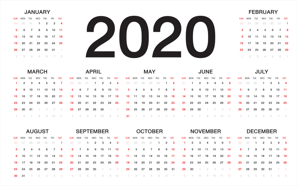Types of Blank Monthly Calendar Template 2020 Editable