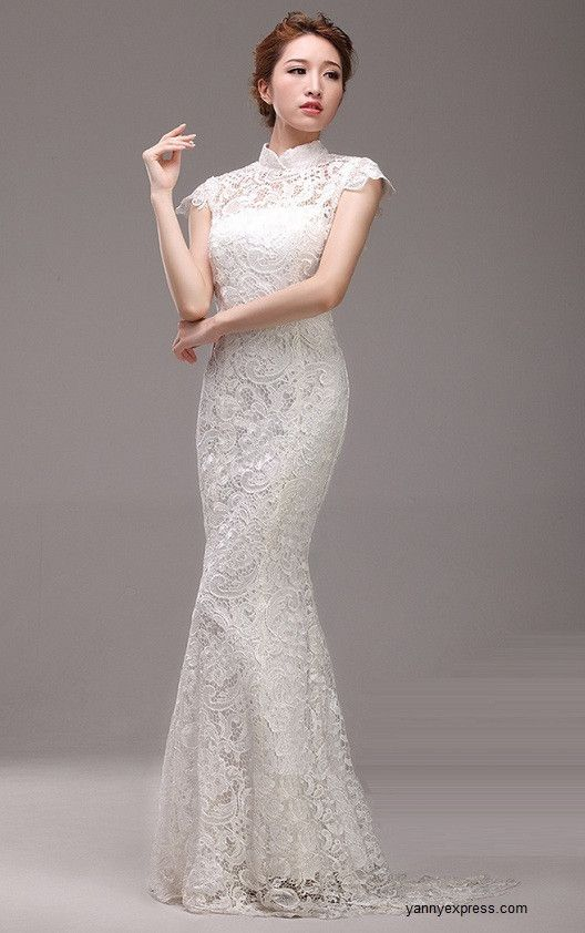 Chinese wedding white gown mandarin collar bridal for Chinese wedding dresses online