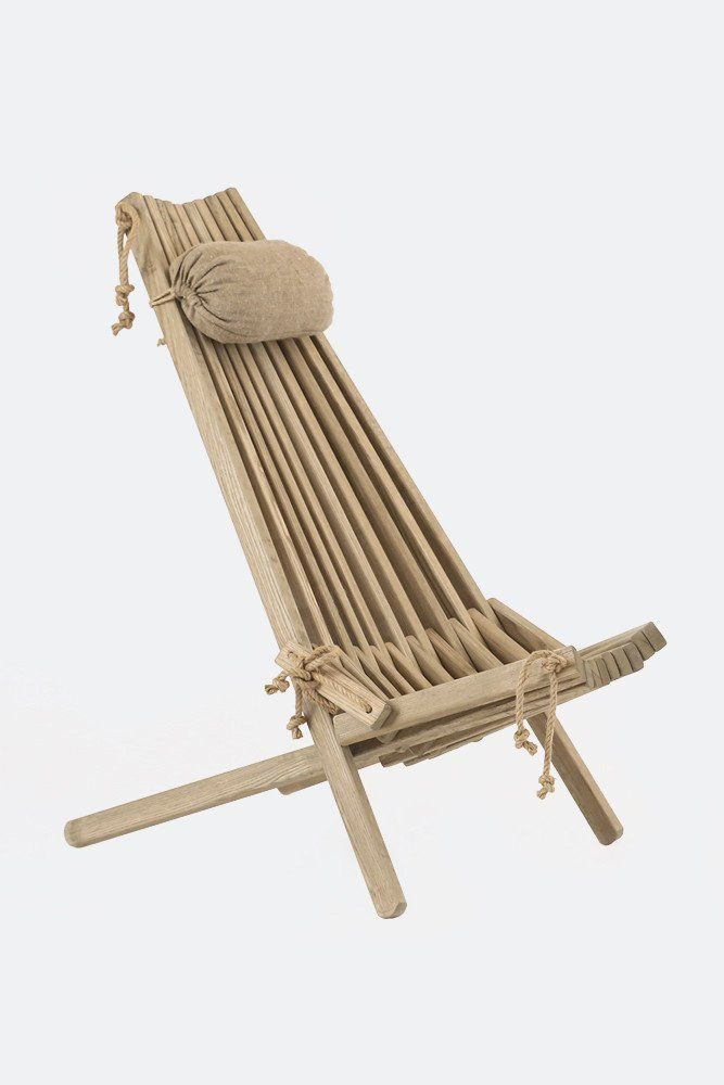 Hardwearing Ash Deck Chair With Linen Headrest Gartenstuhle