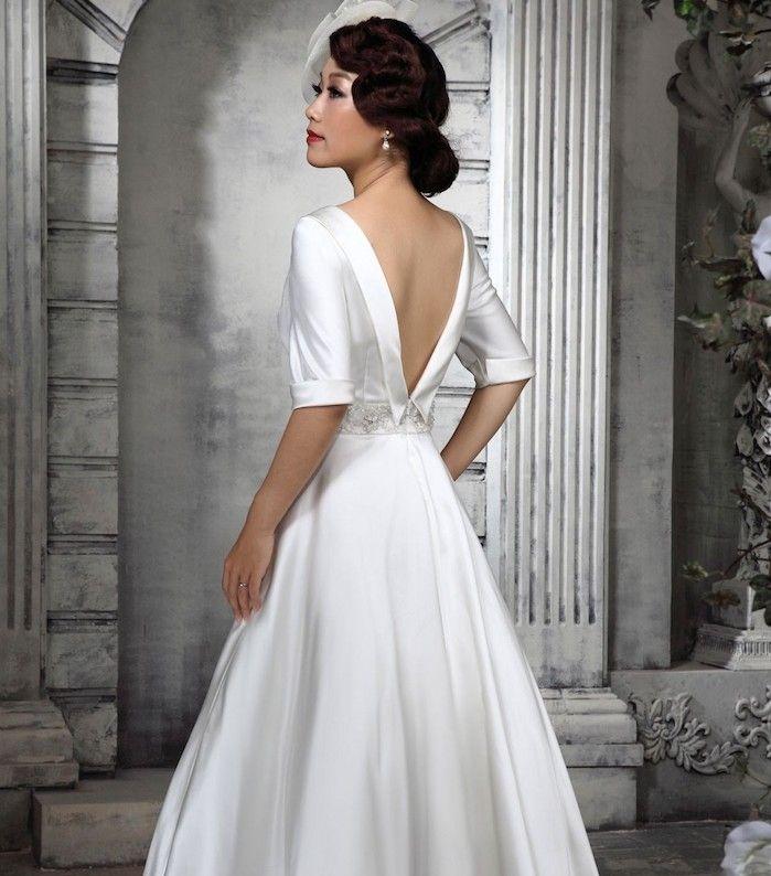 vintage hochzeitskleid aus samt, hochzeitsfrisur im retro stil ...