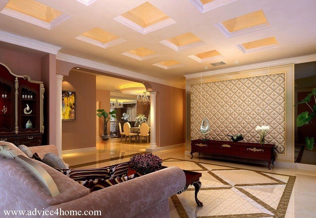 White cream square pop ceiling design in living room - Ceiling design for living room 2015 ...