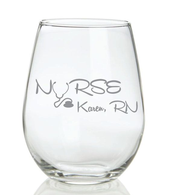 ed9932d90a4 Nurse bling: etched wine glasses | Wulf Creek Designs / Cabin Decor ...