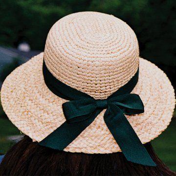 Raffia Hat with Brim & Ribbon.