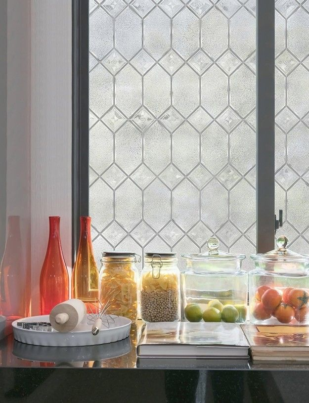 Add Privacy A Touch Of Elegance And Make Your Windows Look Super Expensive With With Leaded Glas Leaded Glass Decorative Window Film Bathroom Window Privacy