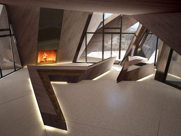Deconstructivisme en design intérieur escalier intérieur bois massif futuriste éclairage