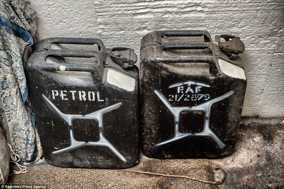 Petrol cans left in the bunker that is 14-feet underground in the Suffolk countryside