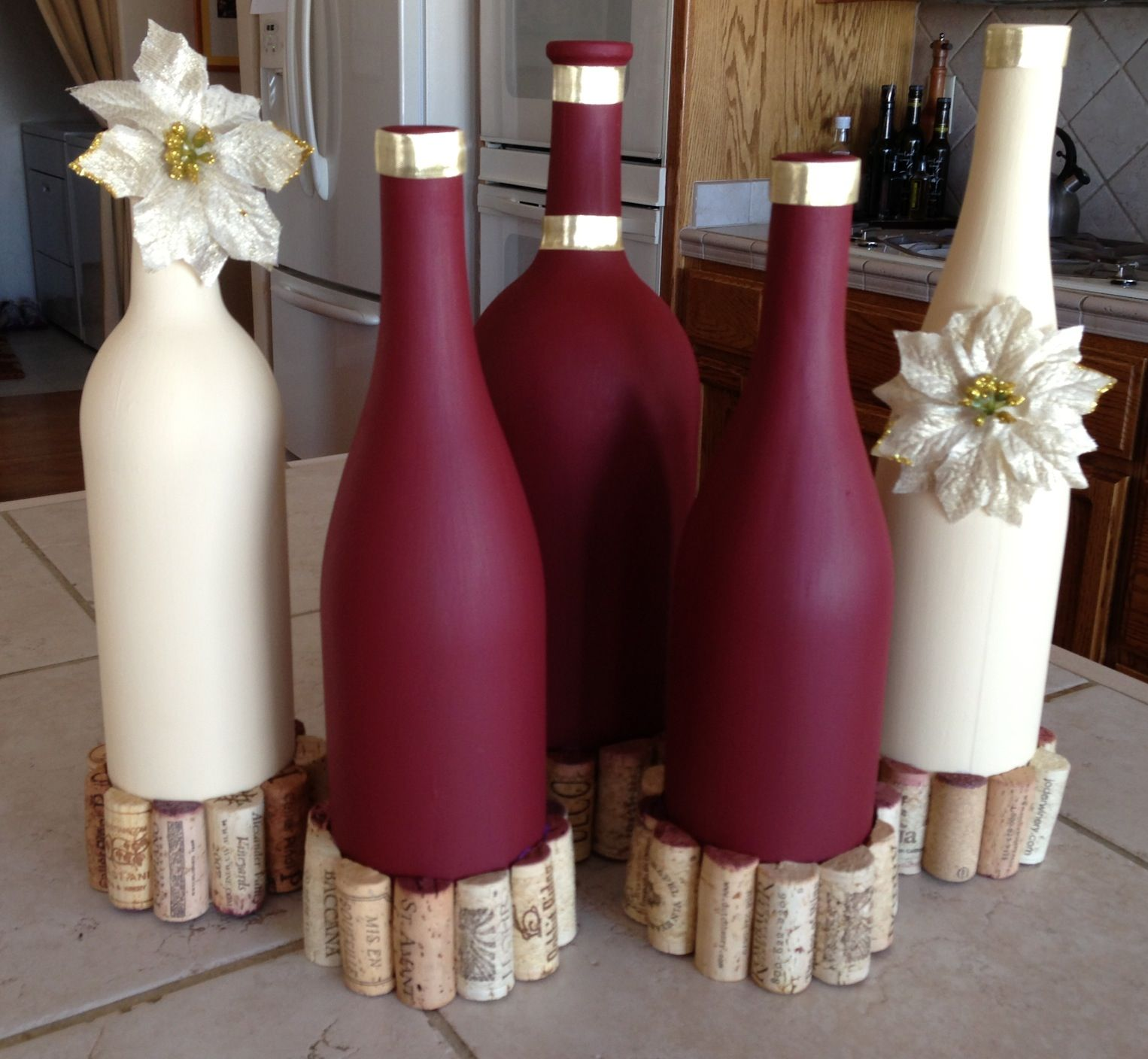 How To Decorate Wine Bottles Love The Two Colors Togetheri Already Gave The Cream Wall