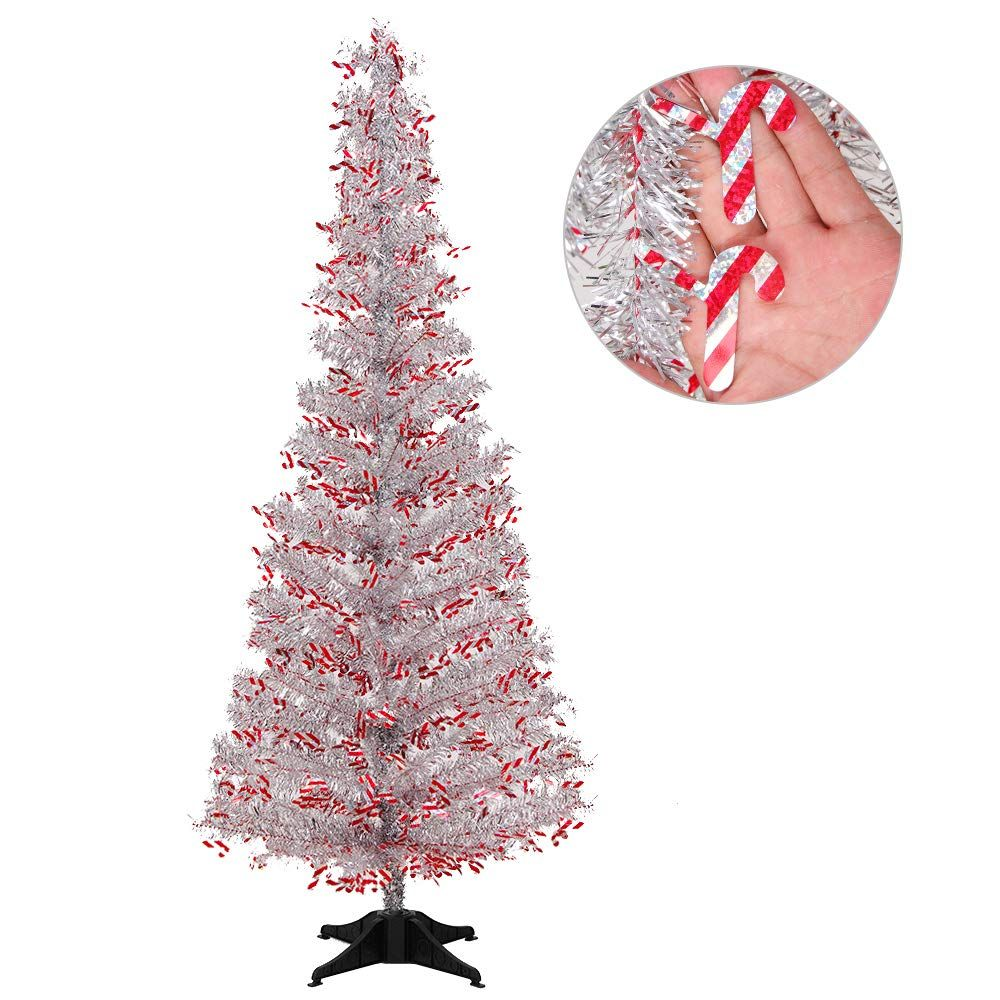 Joy Leo 5 Foot Shiny Candy Cane Silver Christmas Tree With Reflective Sequins Collaps Silver Tinsel Christmas Tree Silver Christmas Tree Tinsel Christmas Tree