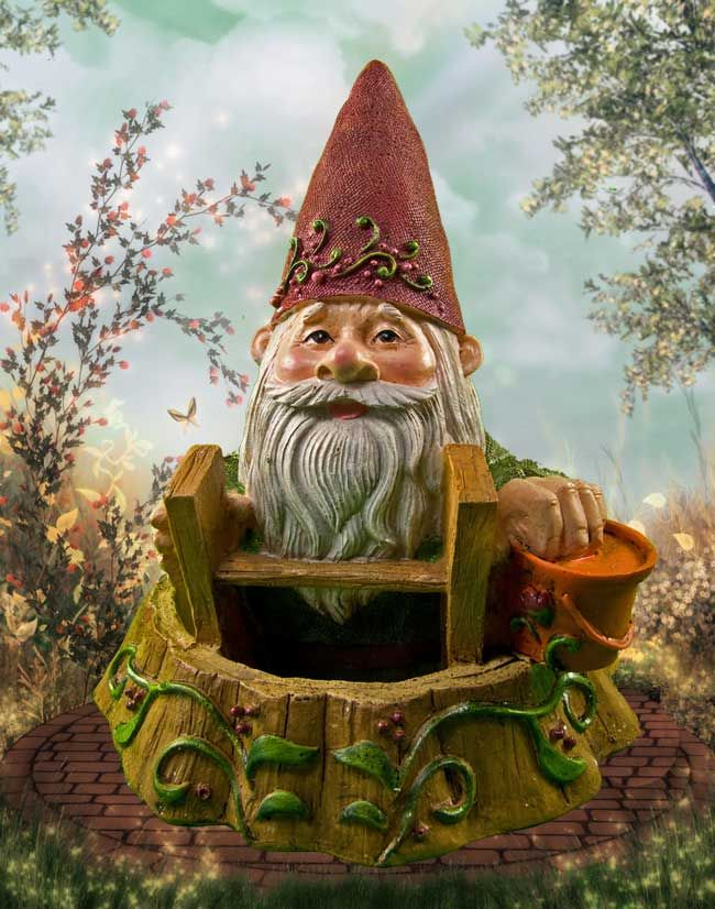 Gnome In Garden: A Miniature Garden Gnome Hard At Work In Our Enchanted