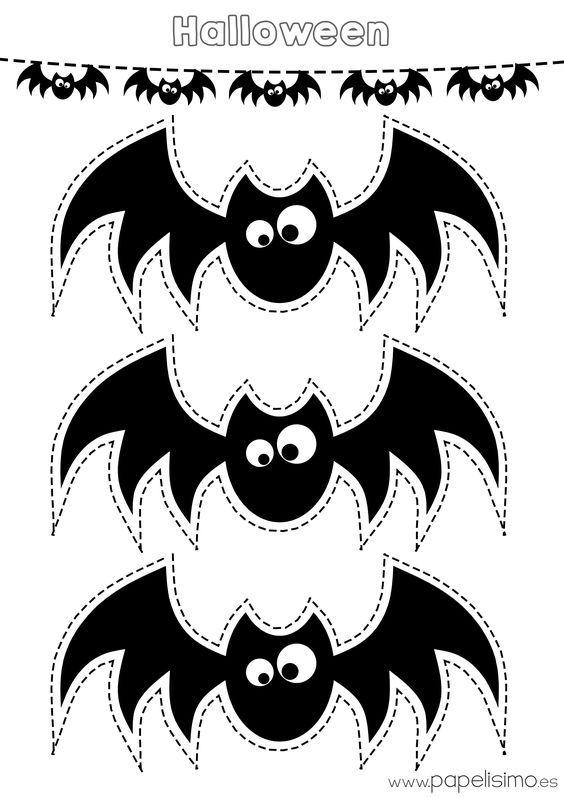 Plantilla-murcielagos-recortar-guirnalda-de-papel | Halloween ...