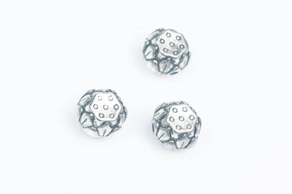 lotus seed beads  silver plant beads  metal jewelry beads