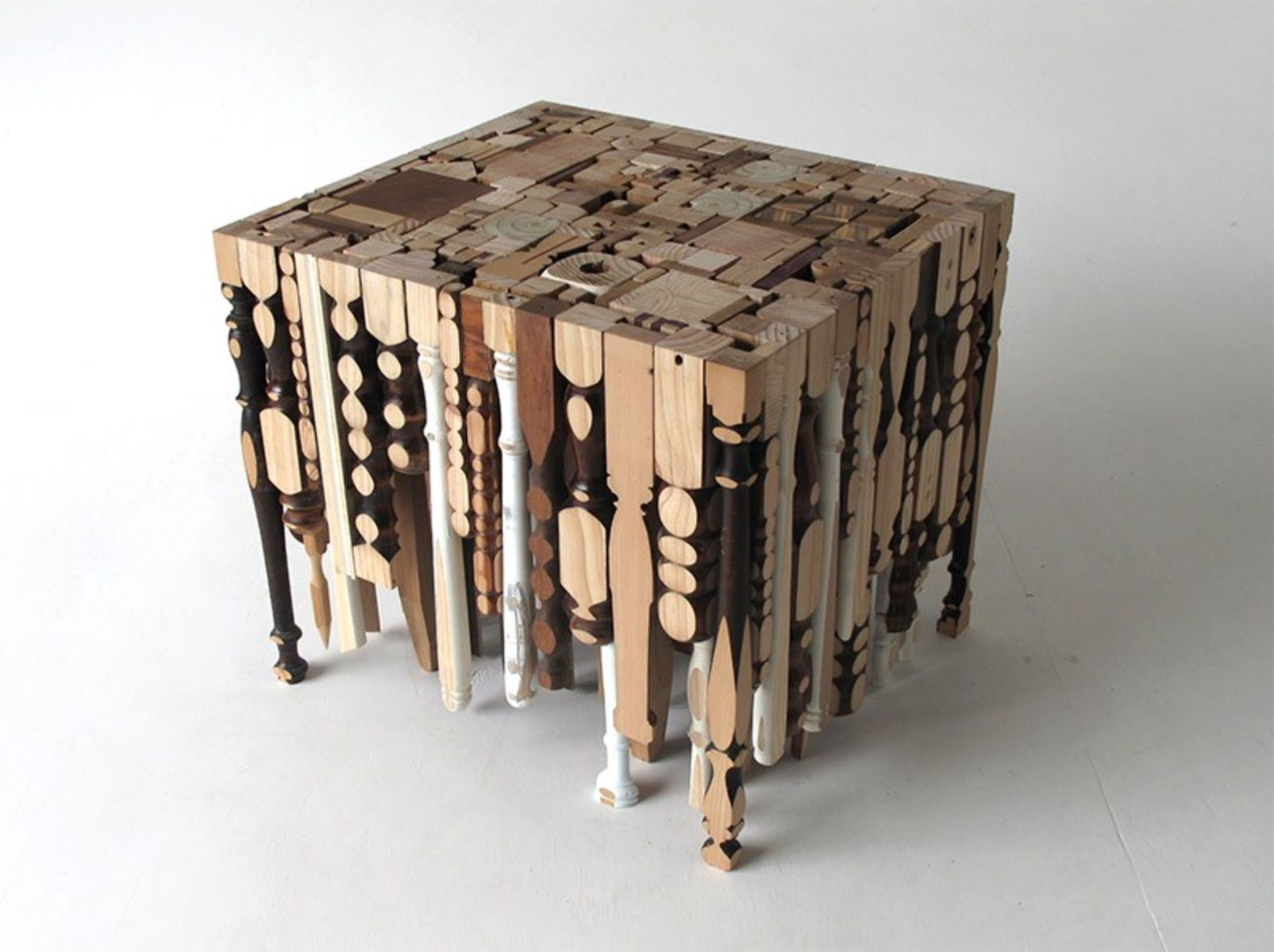 Eking it out table is made out of recycled table legs What are chairs made of