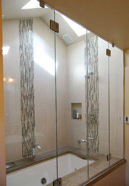vertical mosaic tile detail and vertical porcelain tiles. Jason Ball  Interiors Bathroom Designs bathroom
