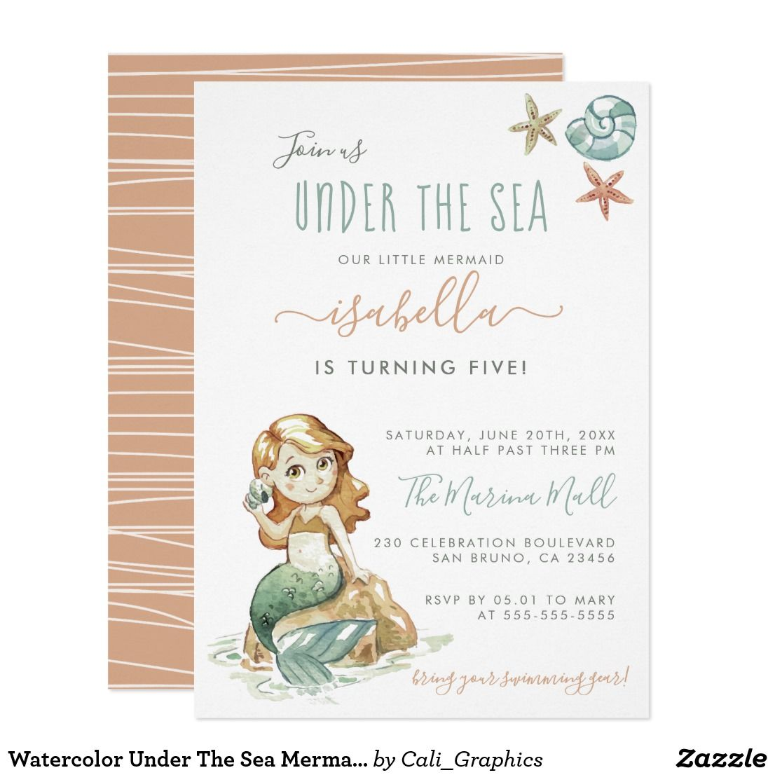Watercolor under the sea mermaid birthday party invitation mermaid