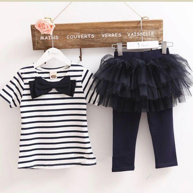 292319d0b Girls Set Two Two Pieces Stripes Bow T-shirt + Tutu Skirt Leggings ...