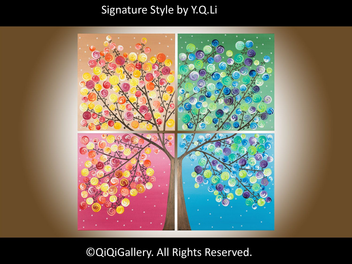 Abstract Landscape Painting - Large Square Original Modern Art On Canvas  Painting Tree Wall Decor Days of Happiness II