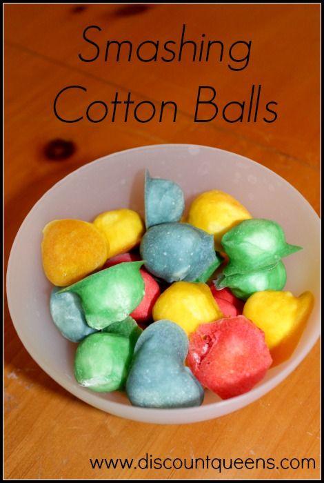 Fun Things For Kids To Do #2 : Smashing Cotton Balls http://www ...