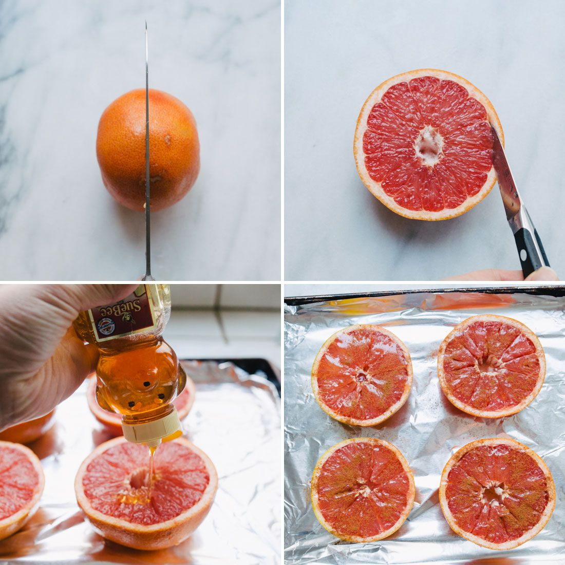 After you halve a grapefruit, snip the rind so that the slices will come out super easy. Top with honey + bake for a warm version of this classic breakfast item.