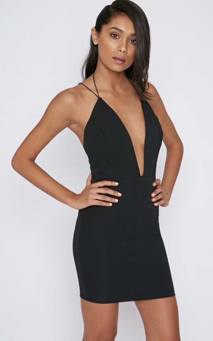Gisele Black Plunge Dress - Dresses - Colourflux - PrettyLittleThing | @annax