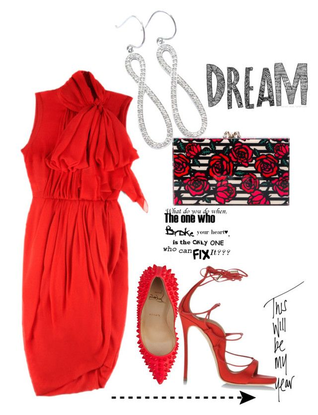 """Untitled #87"" by nenaavila on Polyvore featuring Love Quotes Scarves, Giambattista Valli, Christian Louboutin, Charlotte Olympia and Dsquared2"