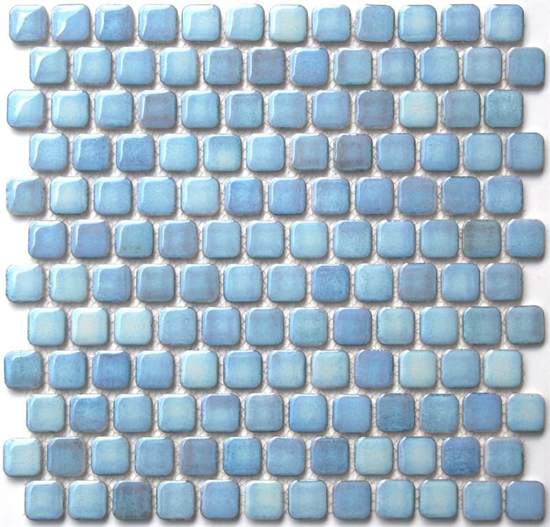 Retro Chiclet Glazed Porcelain Mosaic Tile In Sky Blue 1 X 1 Rounded Square Mosaic Tile New At Mosaic Tile S Mosaic Tiles Custom Mosaic Tile Porcelain Mosaic