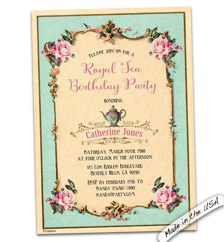 Tea Birthday invitation. Birthday brunch invitation. French Birthday ...