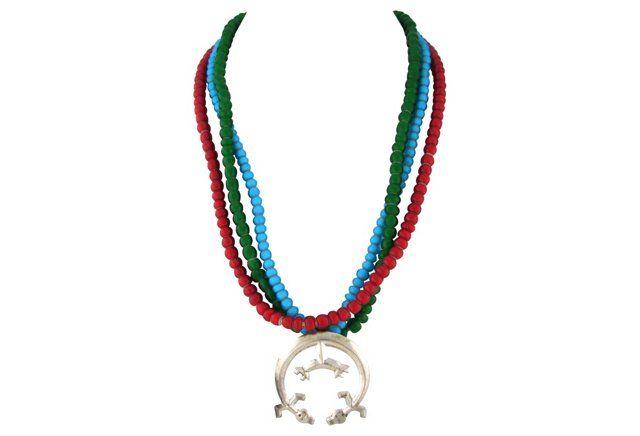 Rainbow Yei Pendant Trade Bead Necklace
