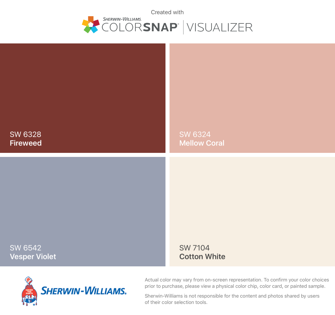I found these colors with colorsnap visualizer for iphone for Sherwin williams cotton white