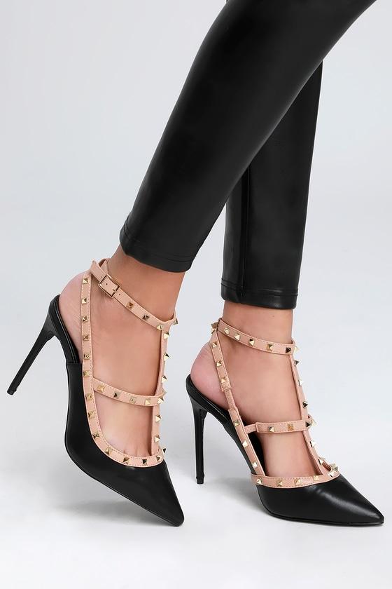 5cf106a1165c1 Lulus | Vanek Black Studded Pointed-Toe Pumps | Size 10 | Vegan ...