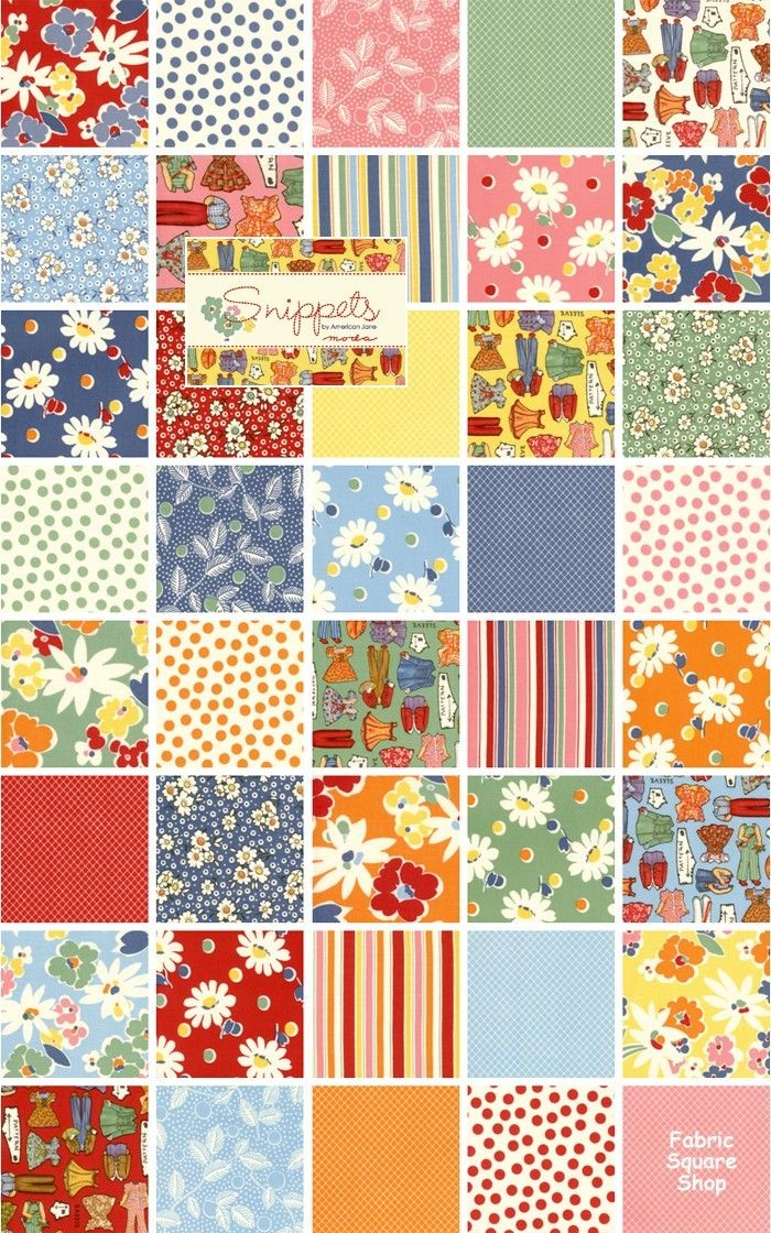 American Jane SNIPPETS Moda Fabric Charm Pack | Fabric Ideas ... : moda quilting fabric - Adamdwight.com