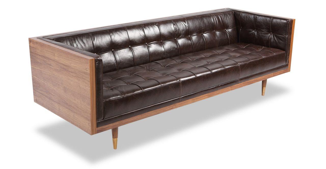 Woodrow Box 87 Leather Sofa Walnut Vintage Smoke Distressed Leather Leather Sofa Furniture Sofa