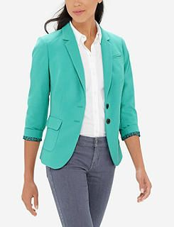 Colorful Flap Pocket Blazer -- LOVE the color and style of this blazer! Nicely fitted!!