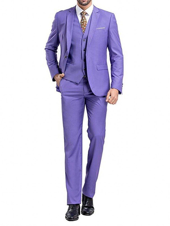 Men\'s Fashion Purple Groomsmen Suit Wedding Suits for Men 3 Pieces ...