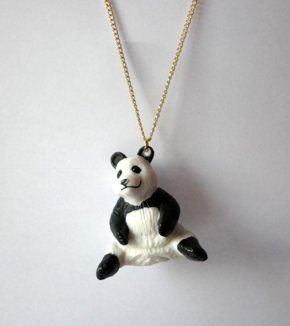 "#Panda Necklace, 18"" Gold-Plated Chain #handmadejewellery #handmadejewelry #Etsy #kawaii #handmade #upcycled #kitsch #quirky"