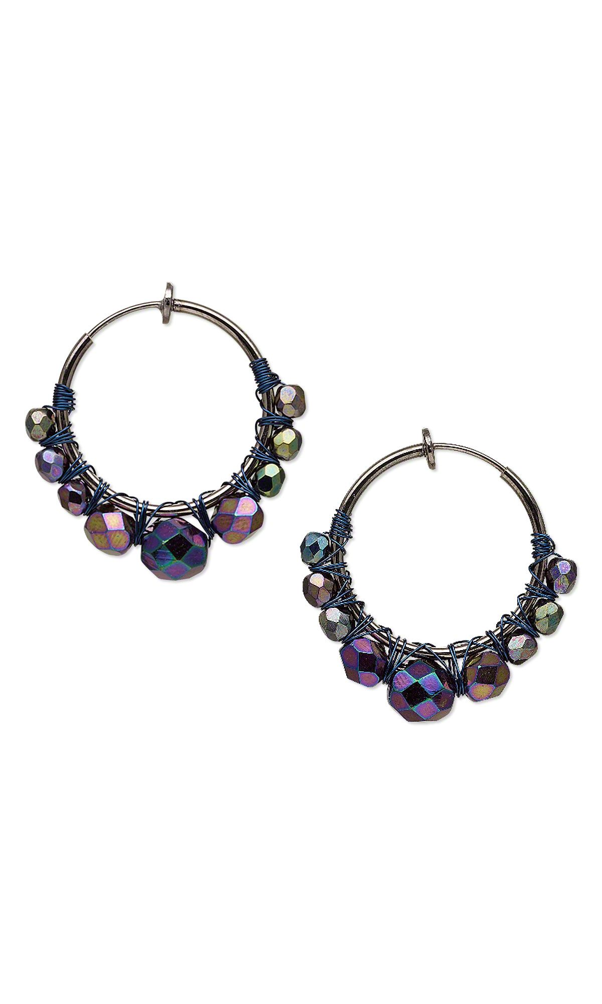 Jewelry Design - Earrings with Czech Fire-Polished Glass Beads and ...