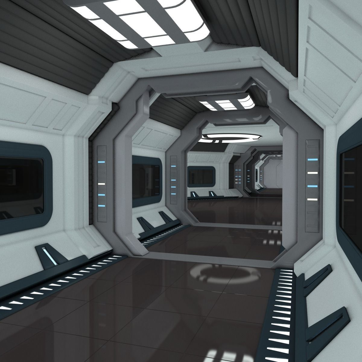Modular Spaceship Interior 3d Model 2020 サイバーパンク