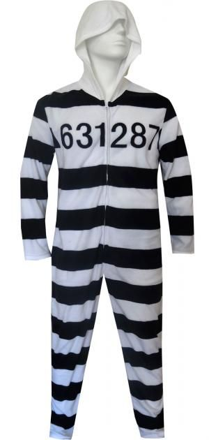 Unisex Hooded Striped Prisoner Onesie Pajama  b5574f488