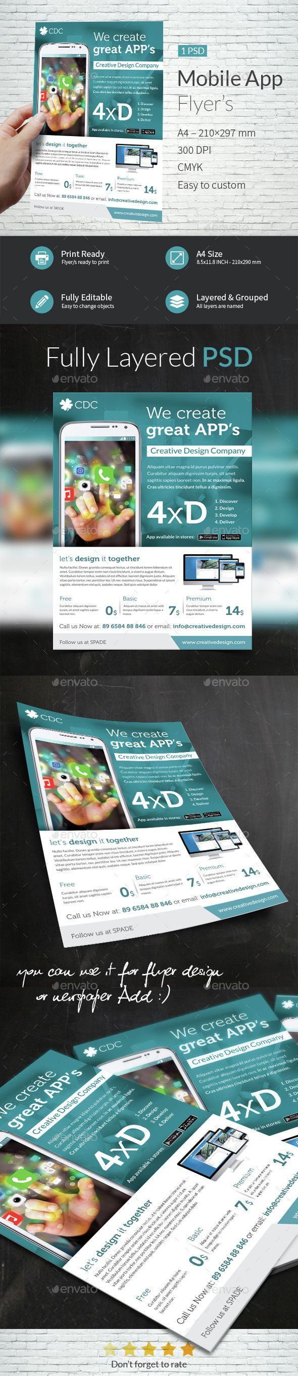 Mobile App A4 Flyer Template - Commerce Flyers