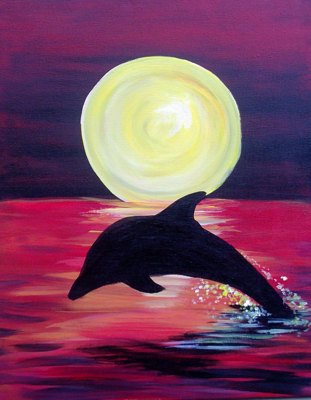 Silhouette Dolphin Painting