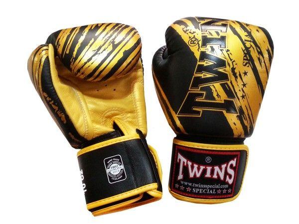 Shiv Naresh Teens Boxing Gloves 12oz: Twins Muay Thai Boxing Gloves : FBGVL-TW2-Black-Gold