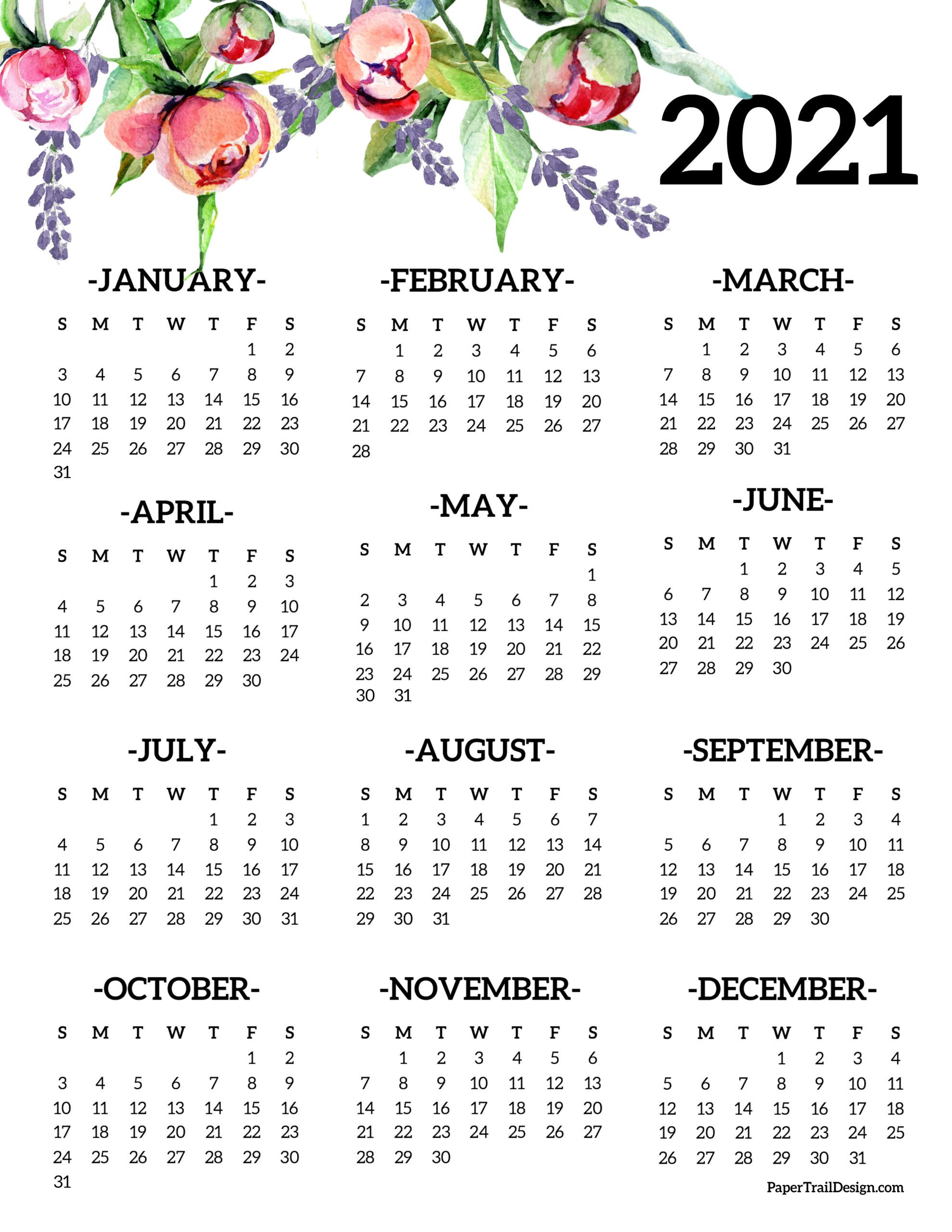 Free Printable 2021 One Page Floral Calendar Paper Trail Design In 2020 Printable Yearly Calendar Calendar Printables Print Calendar