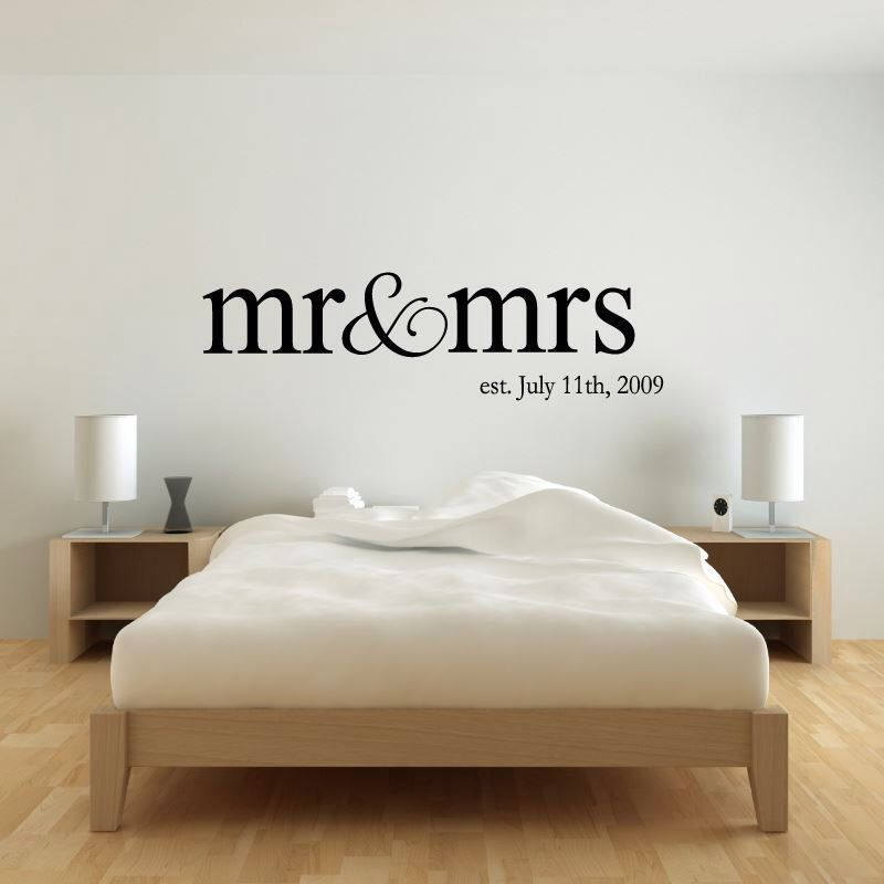 Master Bedroom Wall Decals personalized name mr & mrs wedding wall decal sticker   master