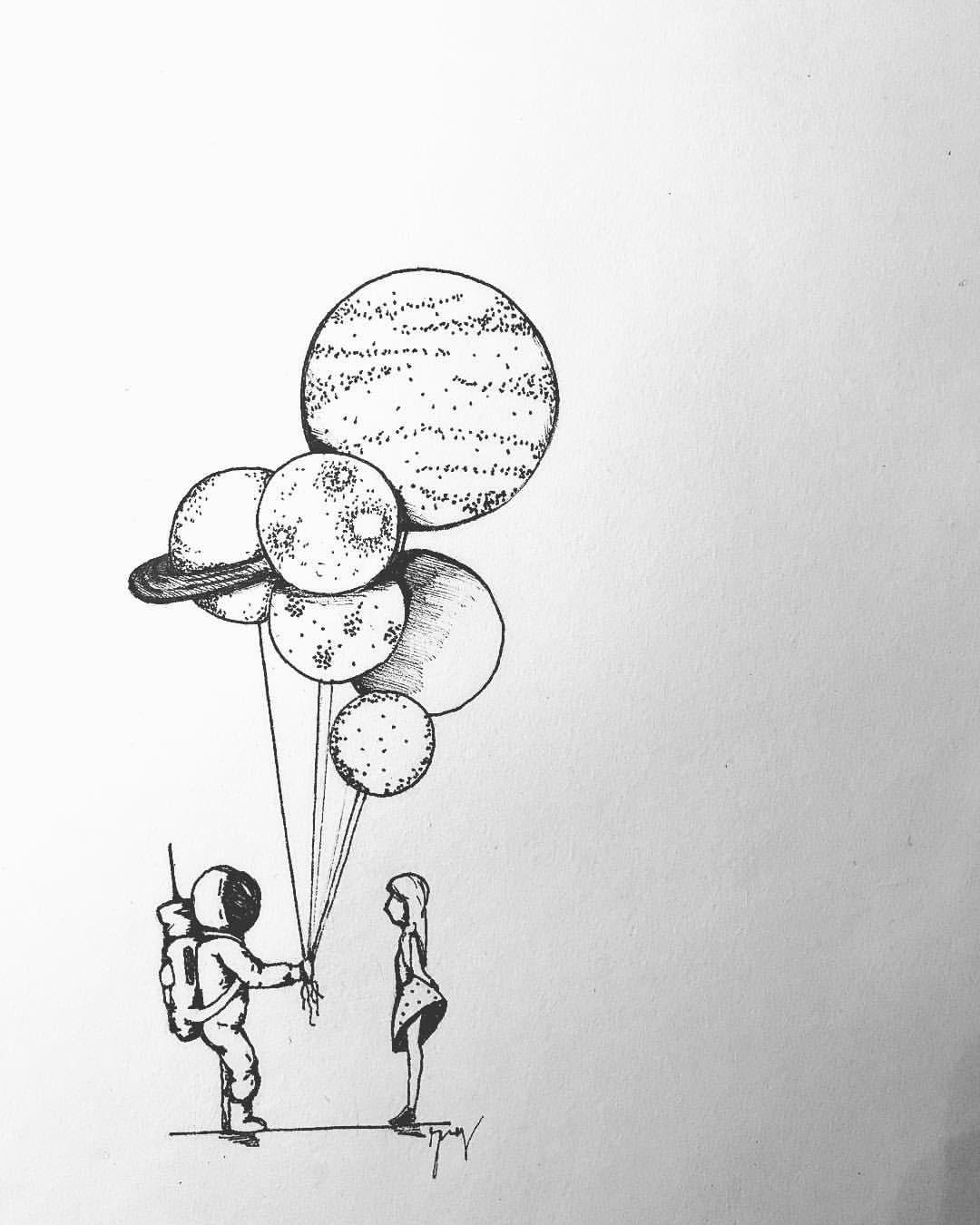 Houston, m'arrangio? 🌔 • • • • • • • #draw #paint #planets ...