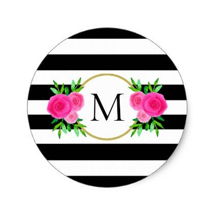 Cute black white striped pink floral monogram classic round sticker flower gifts floral