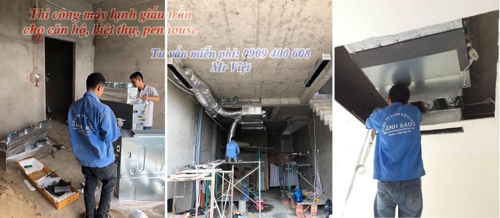 Chuyên thiết kế & thi công máy lạnh giấu trần Daikin nối ống gió cho căn hộ cao cấp, trung tâm hội nghị, tiệc cưới sang trọng LH: 0909 400 608 Mr Việt