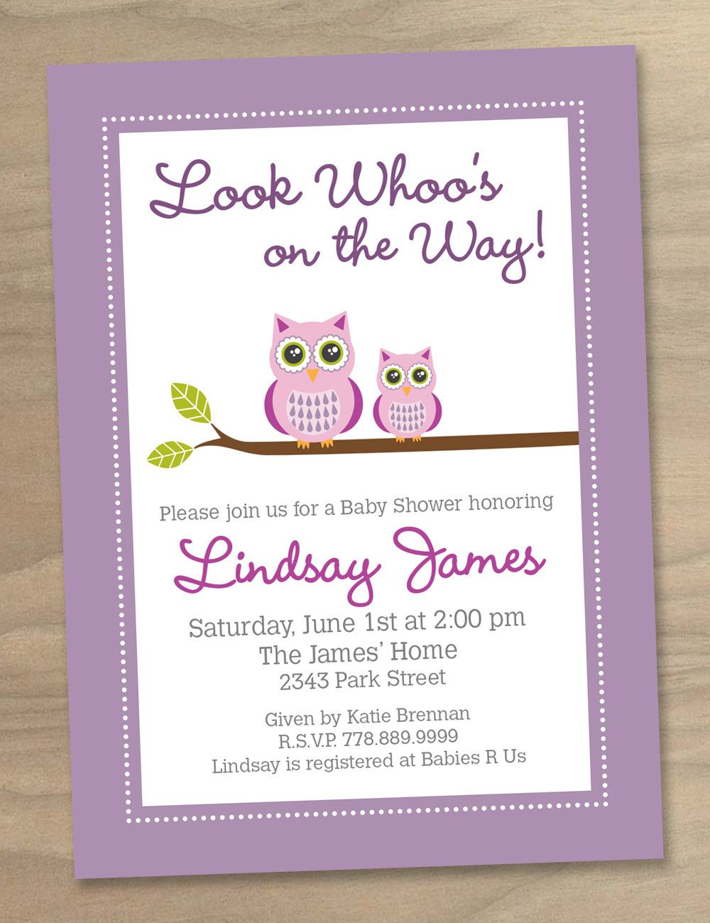 Baby Shower Invitation Pink Purple Cute Modern Two Owls Printable Digital File 16 00 Via Etsy