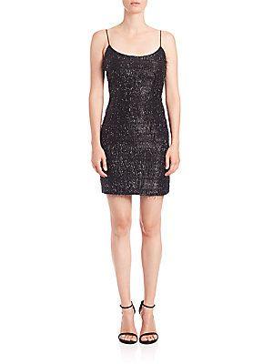 Aidan Mattox Fringed Cocktail Dress - Black - Size 8