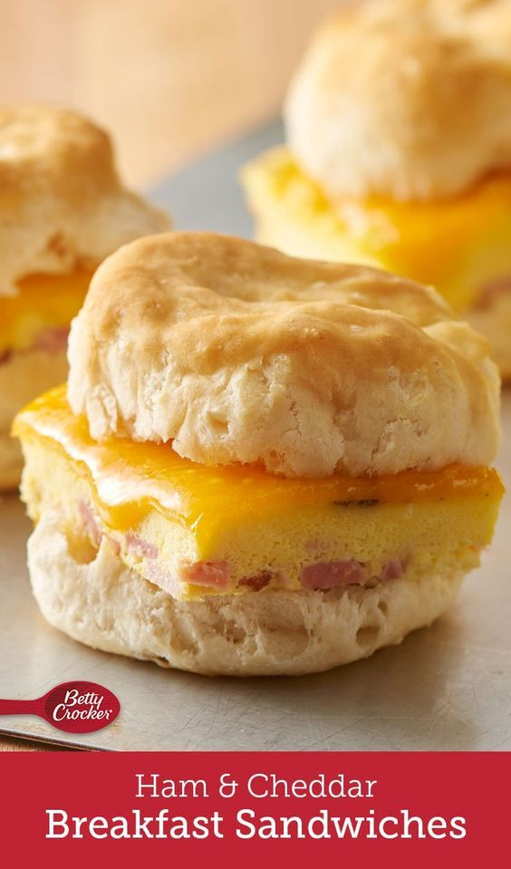 Breakfast for a crowd has never been easier! The trick to these ingenious breakfast sandwiches is baking the eggs and ham together in your 13x9 dish. Top with cheese, and serve with Pillsbury™ Buttermilk biscuits.