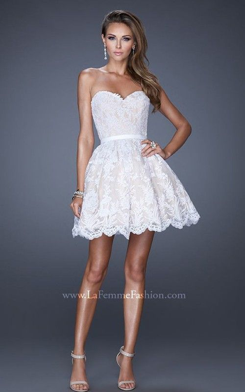 2015 La Femme White Prom Dress Short La Femme 20451 | dress to ...