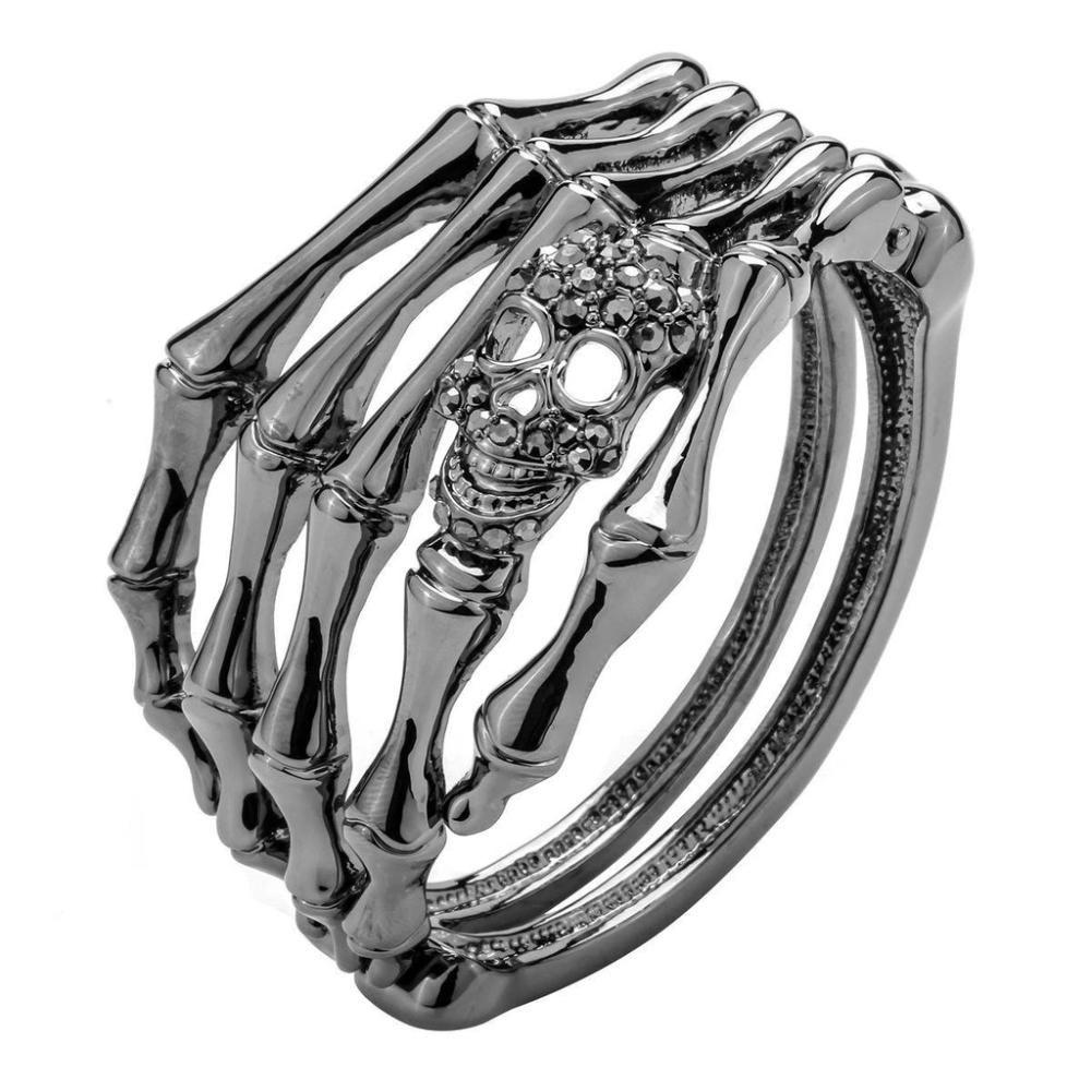 Skull Skeleton Hand Bracelet Bangle Biker Gothic Jewelry